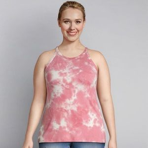 Lane Bryant NWT Tie Dye High-Neck Ribbed Tank Top